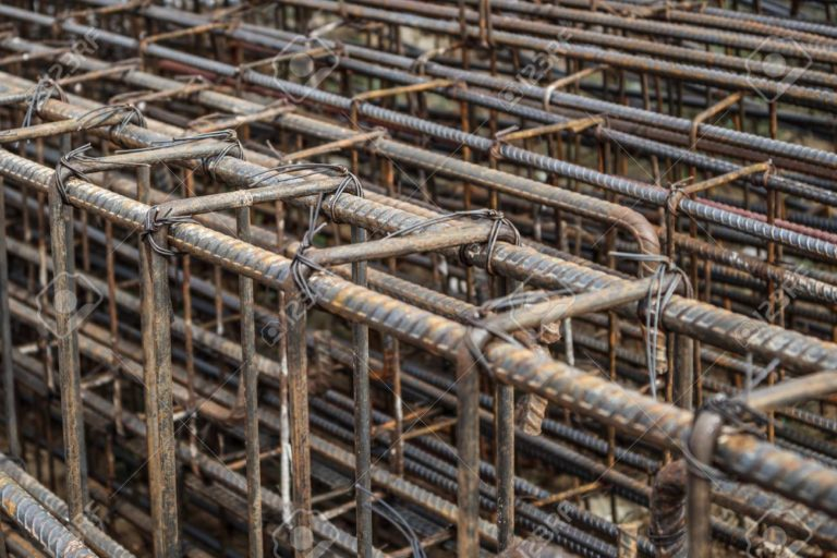 steel rebar for reinforced concrete at building construction site
